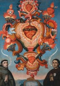 Alegoría de los Sagrados Corazones de Jesús, María, y los santos José, Teresa de Ávila, Ignacio de Loyola, Lorenzo y Cayetano con la presencia de un franciscano y un donante con hábito carmelita