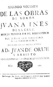 Segundo volumen de las obras de Sor Juana Inés de la Cruz
