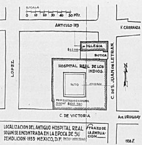 Ubicación del Hospital Real de Indios