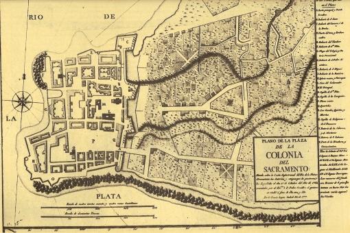 Colonia del Sacramento, 1777. Plano realizado por Tomás López.