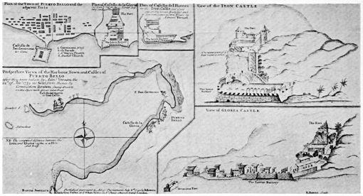 Mapa de Portobelo, Panamá, 1740