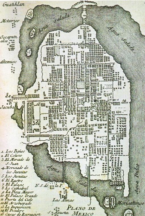 Plano de México - 1758. Grabado realizado por Tomas Lopez de Vargas Machuca.
