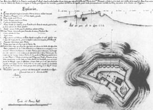 Plano realizado por Antonio de Arévalo de la bateria del angel San Rafael